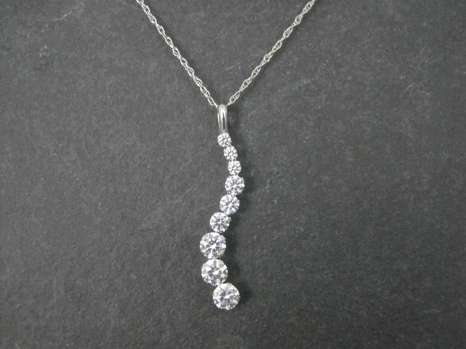 Dainty Vintage 14K White Gold Journey Pendant Necklace
