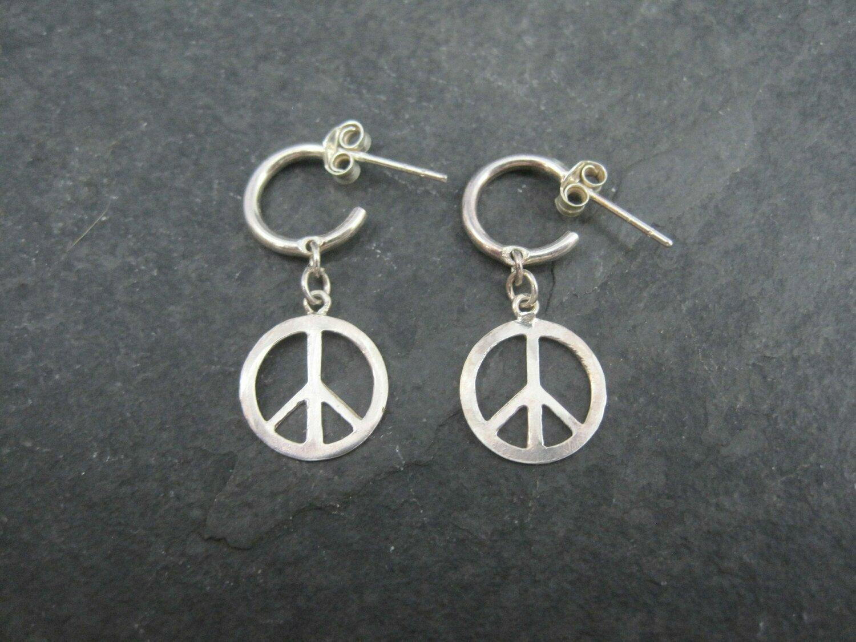 Dainty Vintage Peace Sign Hoop Earrings