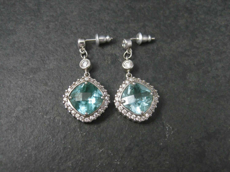 Vintage 90s Sterling CZ Green Spinel Earrings