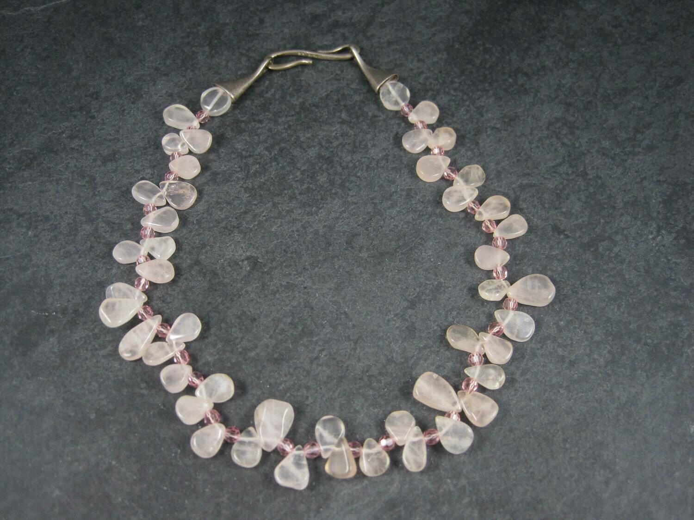 Vintage Sterling Rose Quartz Choker Necklace Carolee 15 Inches