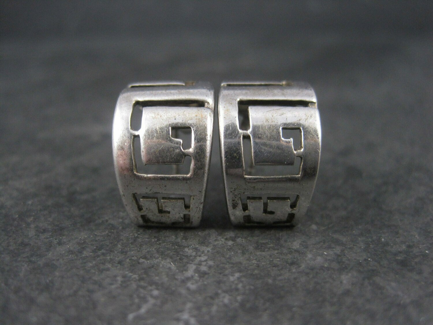Vintage Sterling Greek Key Half Hoop Earrings