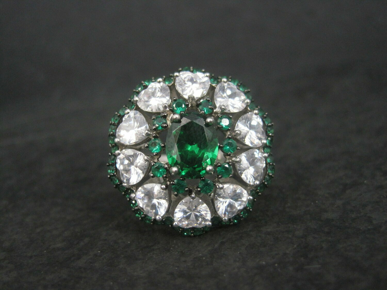 Vintage Sterling Green Quartz Cz Heart Ring Size 7