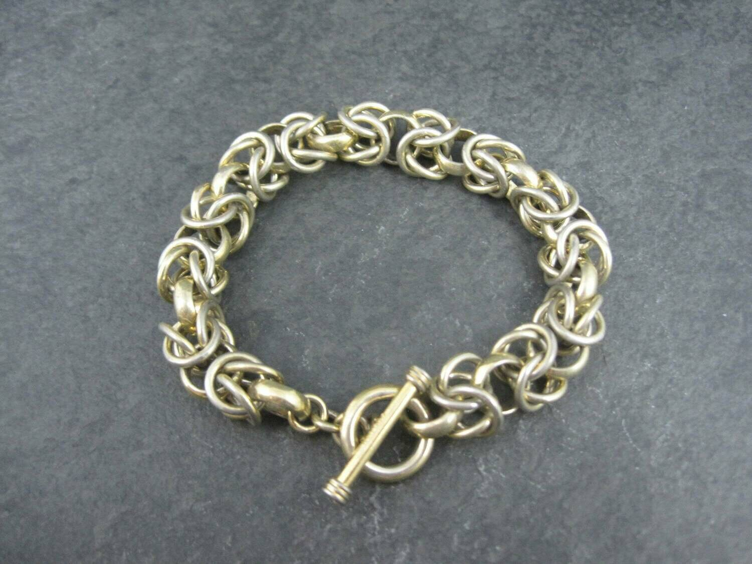 Heavy Vermeil Sterling Chainmaille Bracelet 7.5 Inches
