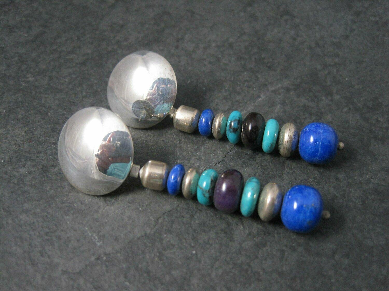 Vintage Native American Lapis Turquoise Dangle Earrings