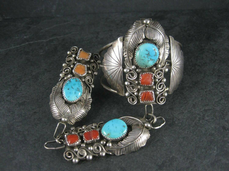 Huge Vintage Native American Sterling Turquoise Coral Slave Bracelet 6.25 Inches Size 8.5