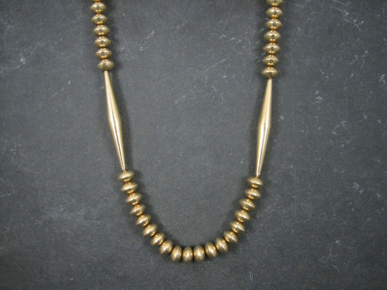 Vintage Solid 14K Navajo Bead Necklace 20.5 Inches