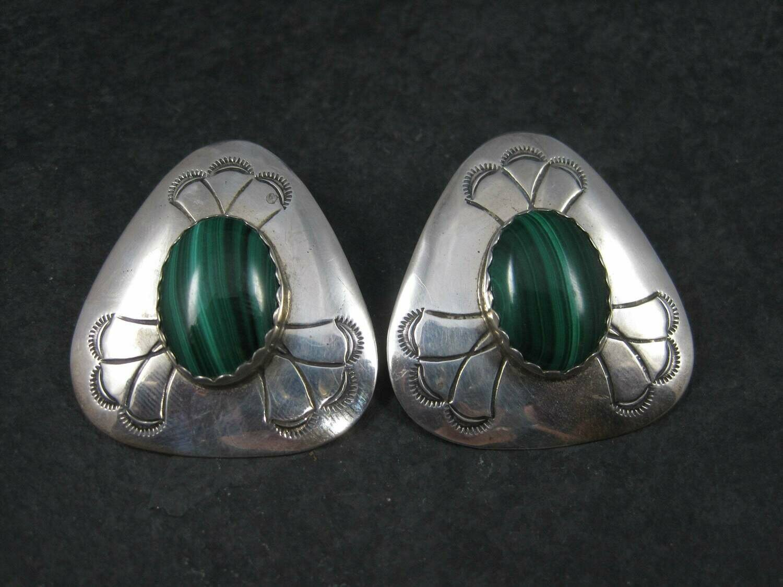 Vintage Navajo Sterling Malachite Earrings