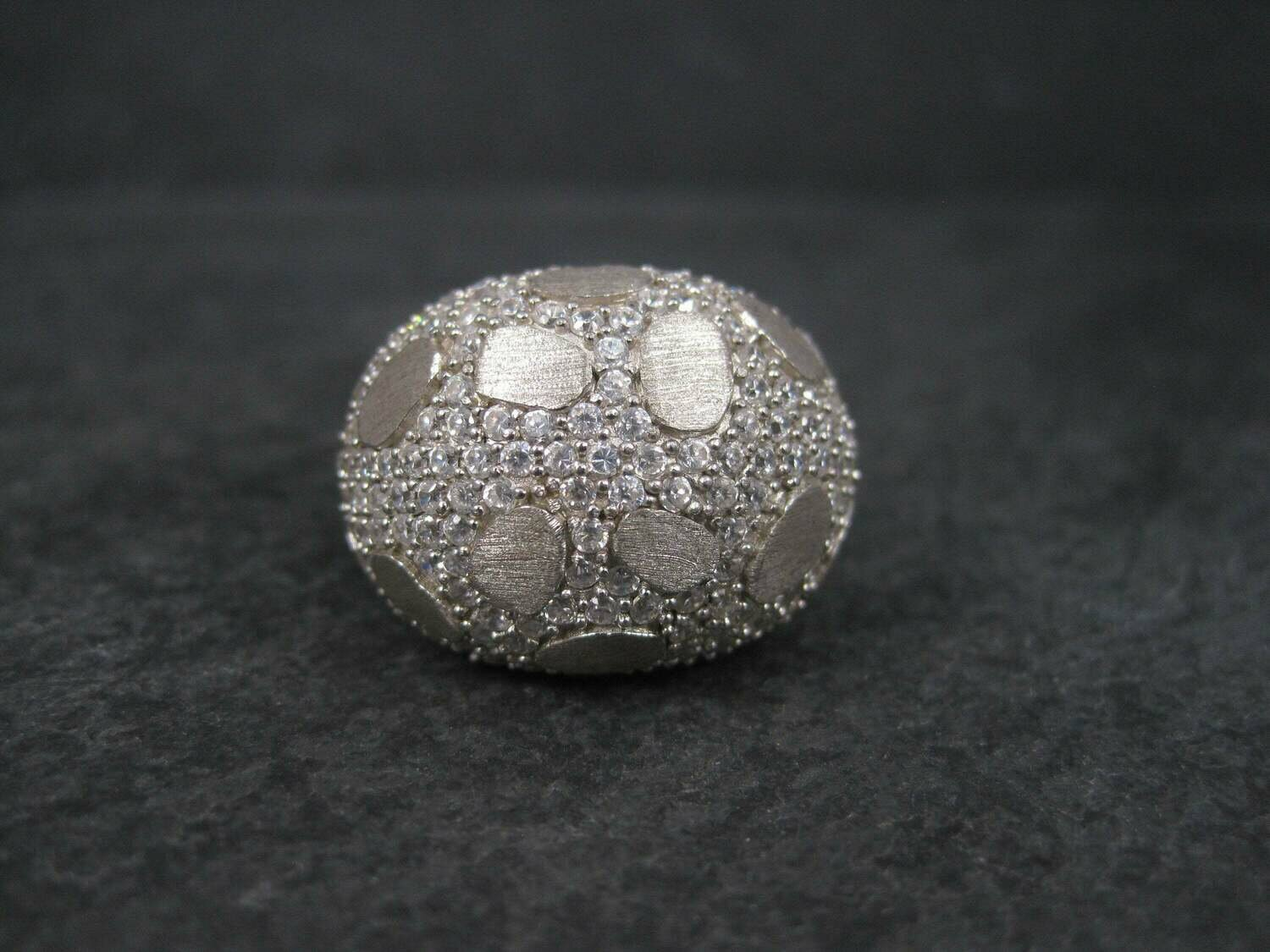 Vintage Brushed Sterling Cubic Zirconia Dome Ring Size 8.5