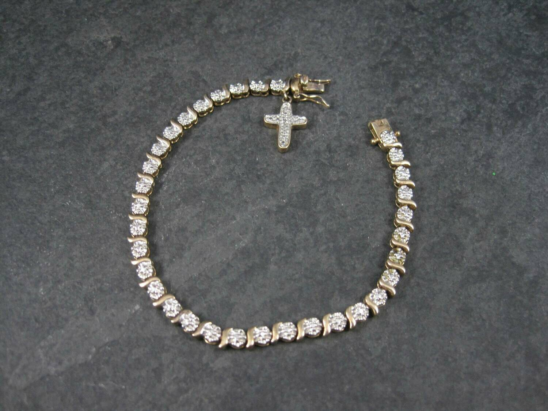 Vintage Diamond Sterling Vermeil Cross Bracelet
