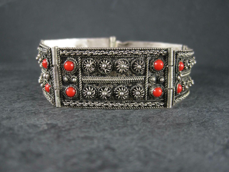 Vintage Etruscan 800 Coral Bracelet