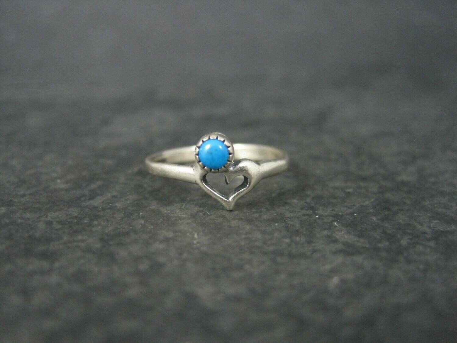 Dainty Sterling Turquoise Heart Pinky Ring Size 3.5