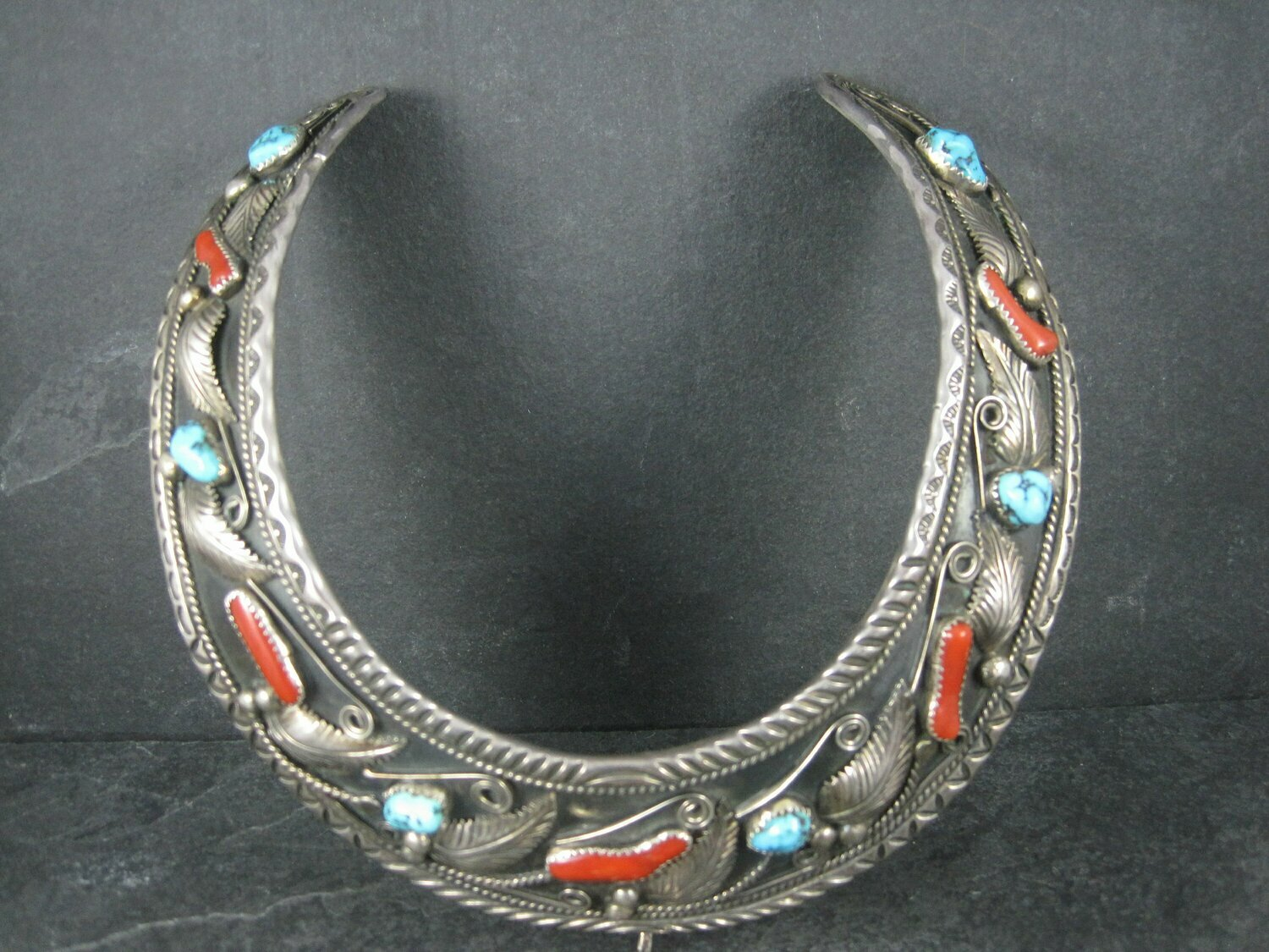 Vintage Navajo Turquoise and Coral Collar Choker Necklace