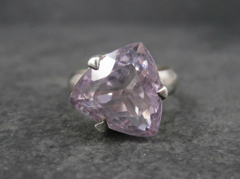 Huge Pink Amethyst Ring Sterling Size 10.5