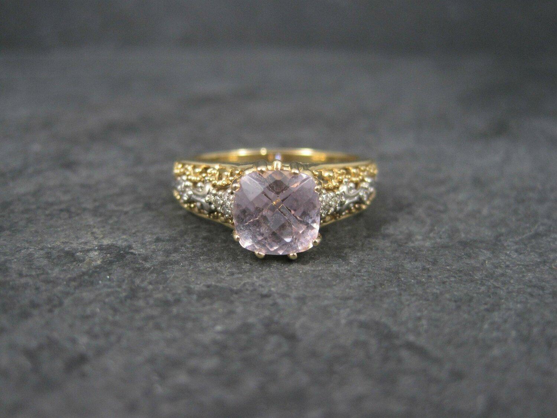 Vintage 14K Pink Morganite Ring Size 10