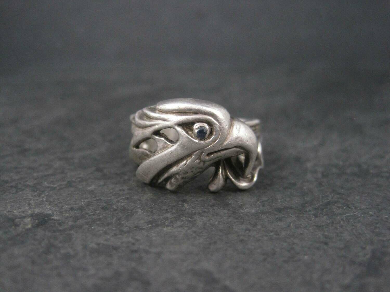 Vintage Sterling Sapphire Eagle Ring Size 10.75