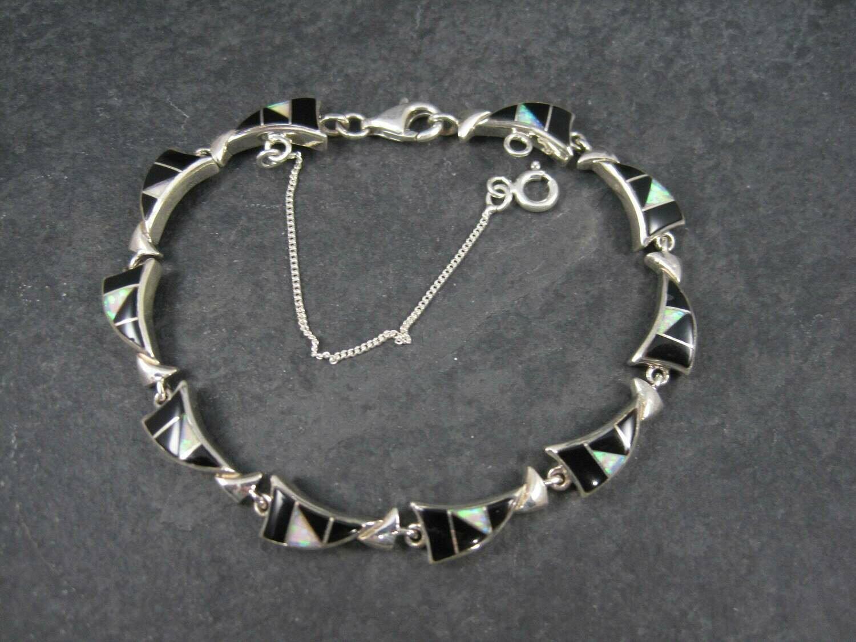 Vintage Southwestern Onyx Opal Inlay Bracelet 7.5 Inches