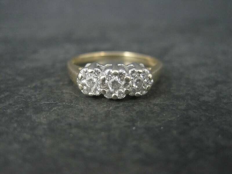 14K 1/2 Carat Endless Diamond Cluster Ring Size 8.25