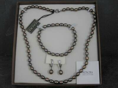 Honora Chocolate Peacock Pearl Necklace Bracelet Earrings Jewelry Set