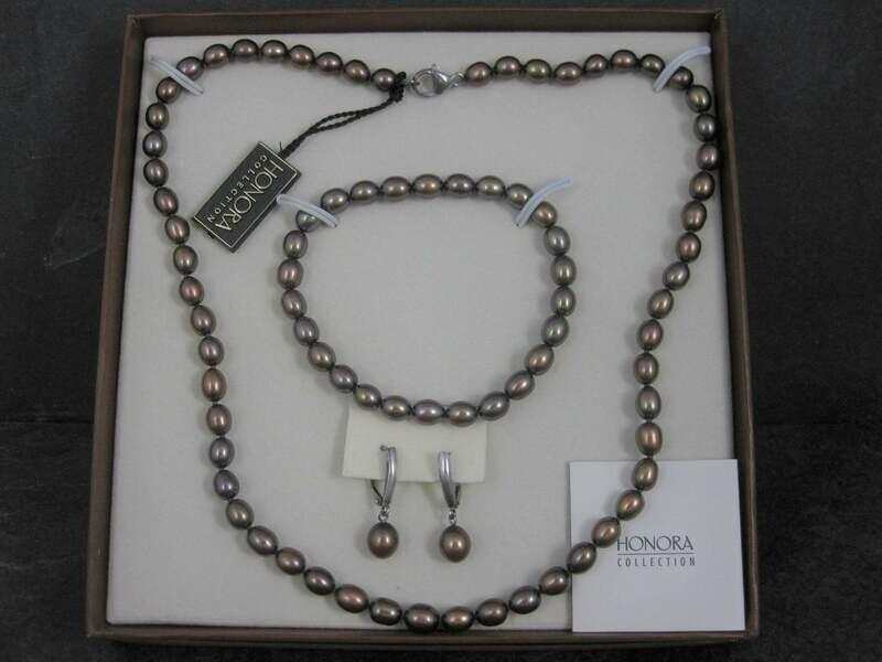 Honora Chocolate Peacock Pearl Necklace Bracelet Earrings Jewelry Set