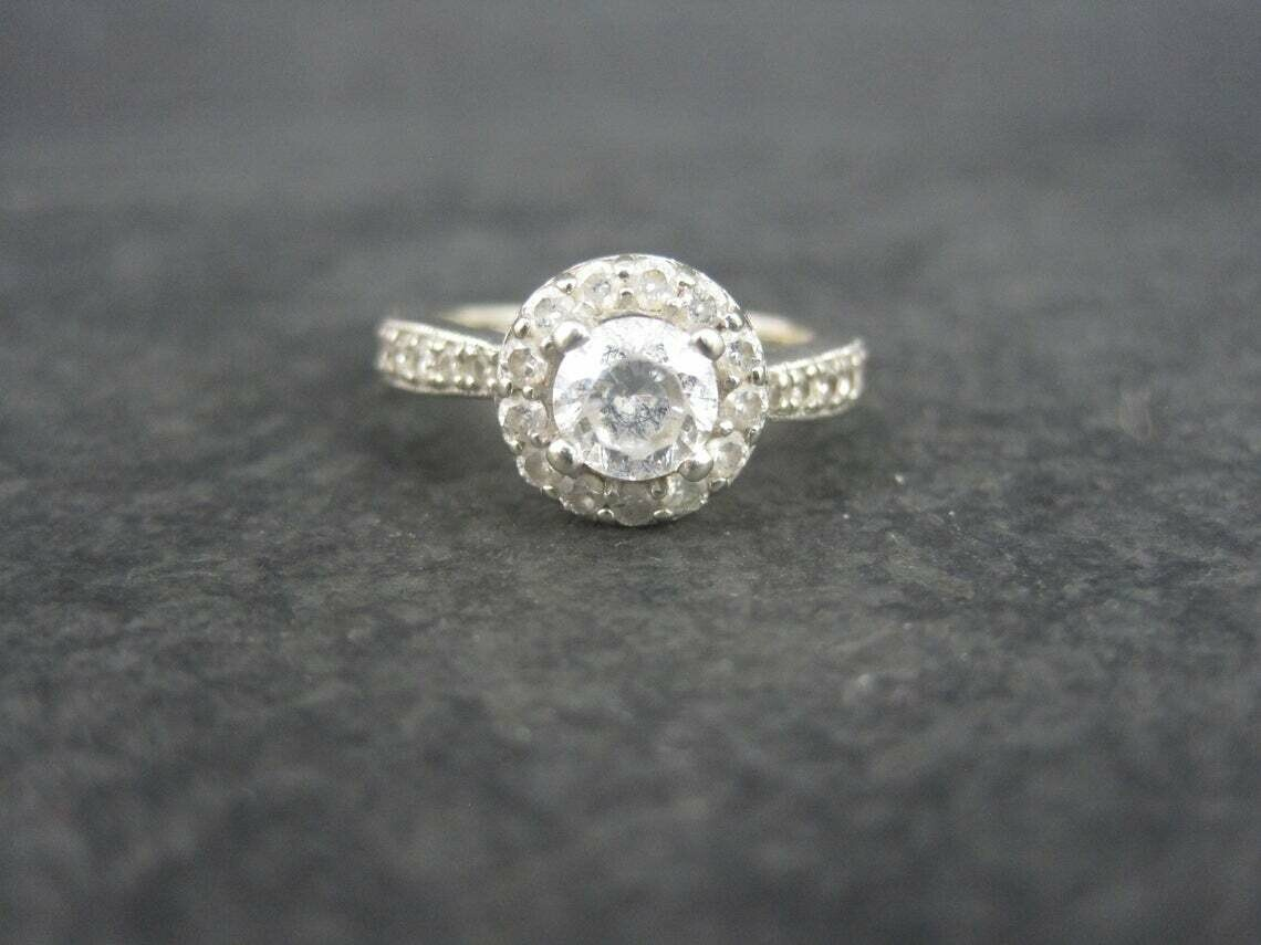 14K Finelli White Gold Diamond CZ Engagement Ring Size 5.5