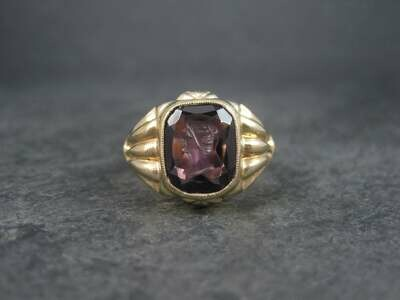 Antique 10K Intaglio Amethyst Cameo Ring Size 10