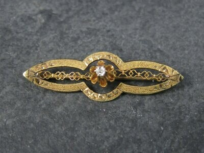 Antique 10K Diamond Brooch Pin