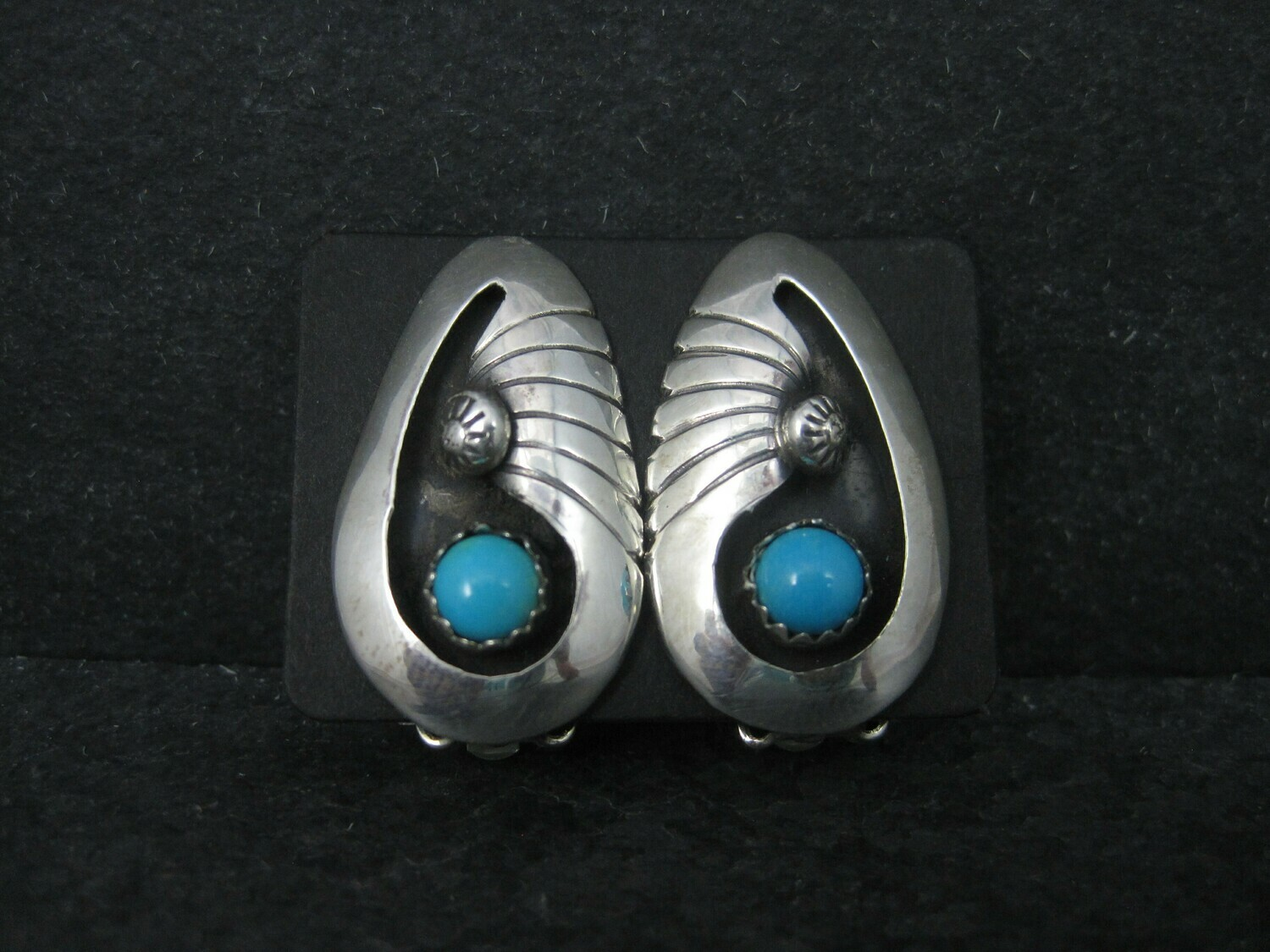 Native American Turquoise Clip On Earrings