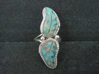 Sterling Carved Turquoise Leaf Ring Size 10