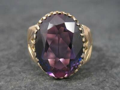 Antique 14K 8.10 Carat Purple Sapphire Ring Size 10.5