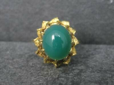 Antique 18K Chrysoprase Ring Size 8