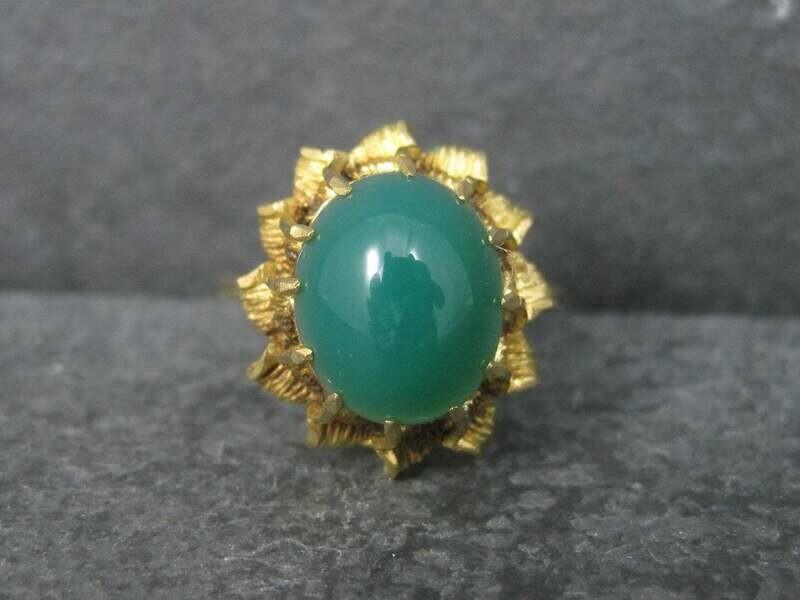 Antique 18K Chrysoprase Ring Size 8