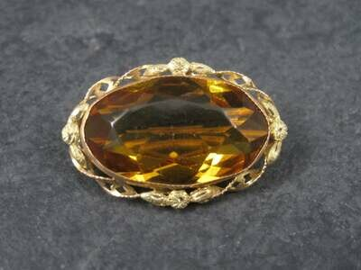 Antique Art Deco 10k Topaz Glass Brooch