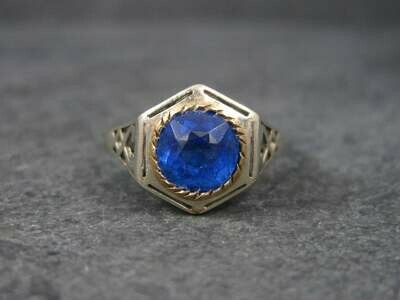 Antique 14K Glass Sapphire Ring Size 7.5