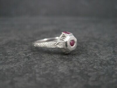 Antique Art Deco 9K Ruby Diamond Engagement Ring Size 6.5
