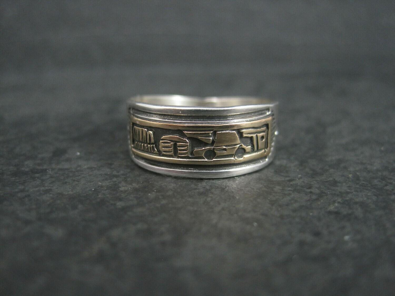 Modern Vintage Sterling 12K Storyteller Ring Size 9
