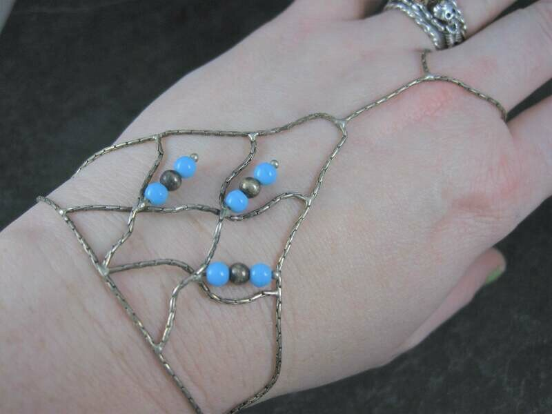 Vintage Sterling Turquoise Bead Liquid Slave Bracelet 7 Inches