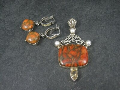 Orange Mohave Turquoise Citrine Pendant Earrings Jewelry Set