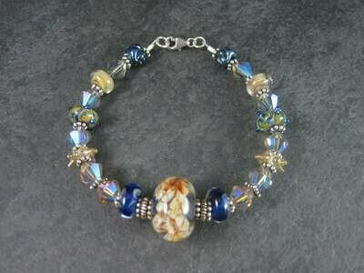 Handmade Blue Amber Lampwork Art Glass Bead Bracelet 8 Inches