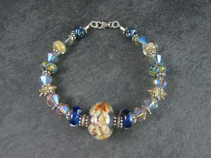 Handmade Blue Amber Lampwork Art Glass Bead Bracelet 8 Inches