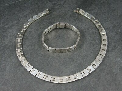 Heavy Vintage Mexican Sterling Link Necklace and Bracelet Set