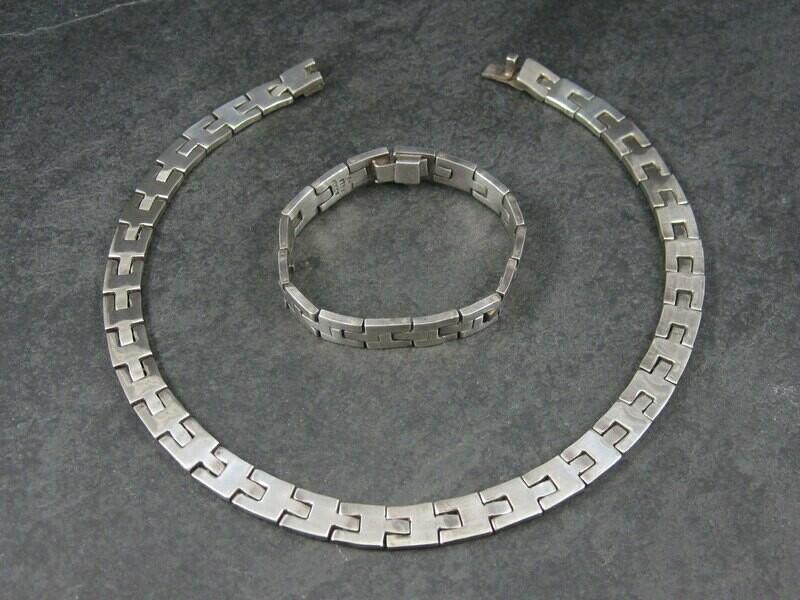Heavy Vintage Mexican Sterling Link Necklace and Bracelet Set
