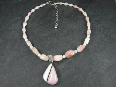 Pink Opal Mother of Pearl Necklace Pendant Jewelry Set