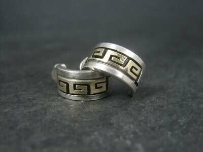 Vintage Navajo Sterling 14K Half Hoop Earrings Rhoda Jack