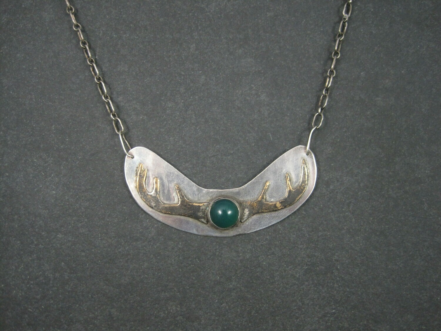 Vintage Sterling Chrysoprase Deer Antler Necklace 27 Inches