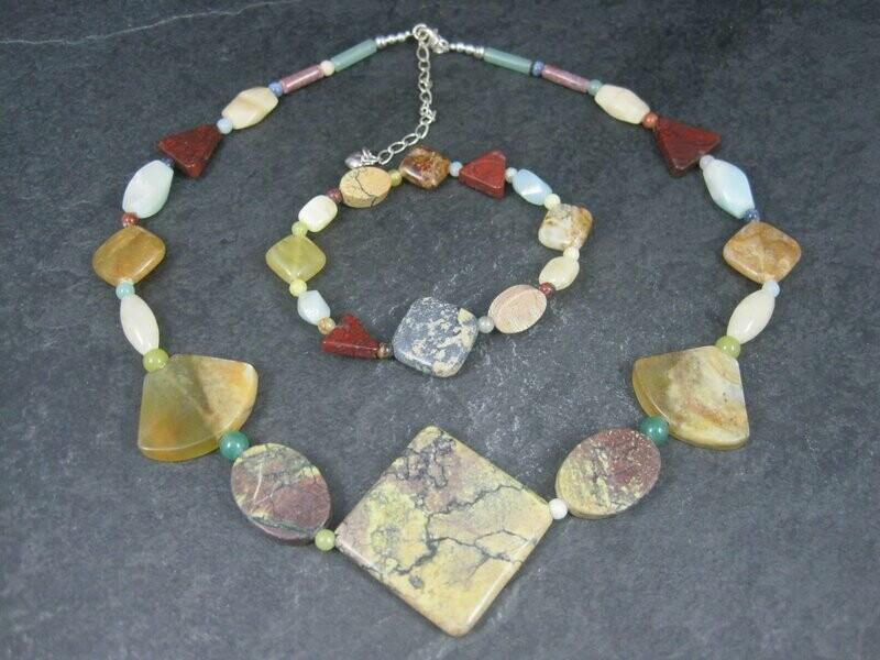 Vintage Jasper Agate Gemstone Necklace Bracelet Jewelry Set Desert Rose Trading