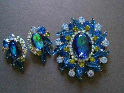 Juliana Bermuda Blue Brooch Earrings Set