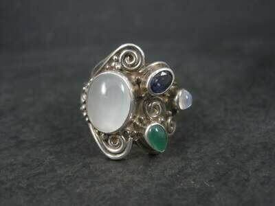 Sterling Sajen Moonstone Iolite Ring Size 7.5