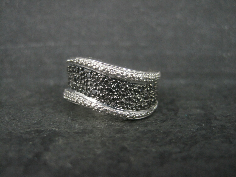 Sterling Black White Diamond Illusion Ring Wavy Band Size 7