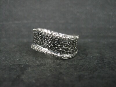 Sterling Black White Diamond Illusion Ring Wavy Band Size 7