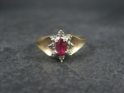 Vintage 10K Diamond .25 Carat Oval Ruby Ring Size 8